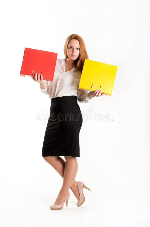Download Business Woman With Folders On  Light Background Stock Image - Image of confident, lovely: 28295189