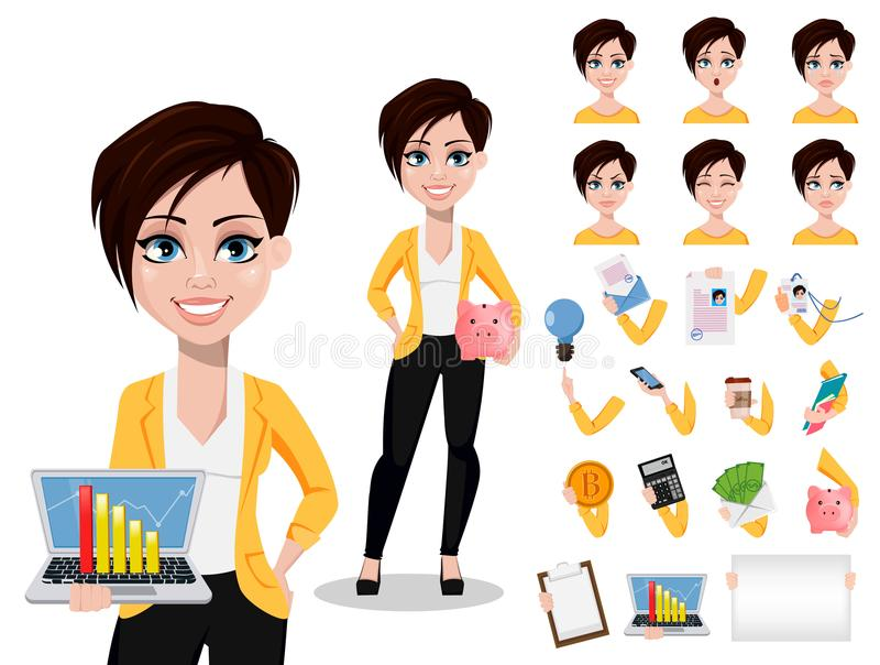 Business woman, freelancer, banker. Beautiful lady in casual clothes. Pack of body parts, emotions and things. Build your personal design. Vector illustration stock illustration