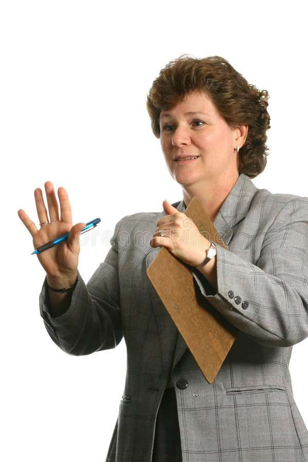 Business Woman Gesturing For Someone To Stop Isolated On White Space Royalty Free Stock Image