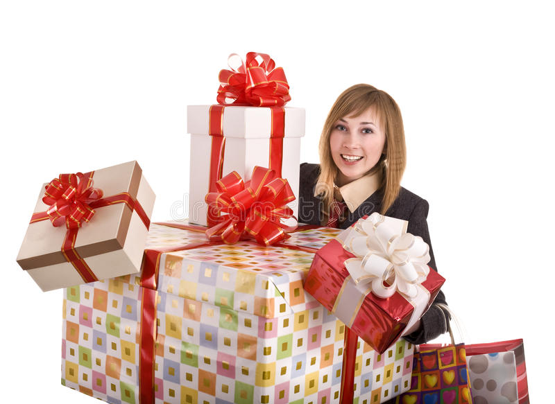 Download Business Woman With Gift Box. Stock Image - Image: 10270871