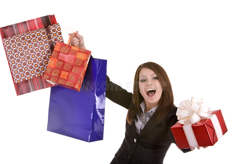 Business woman with  gift  box and bag. Isolated.