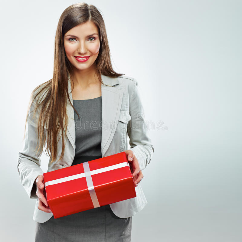 Business woman gift. White background royalty free stock images