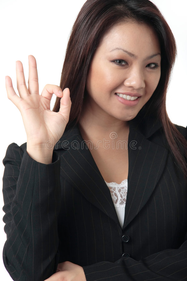 Business woman giving the royalty free stock photography