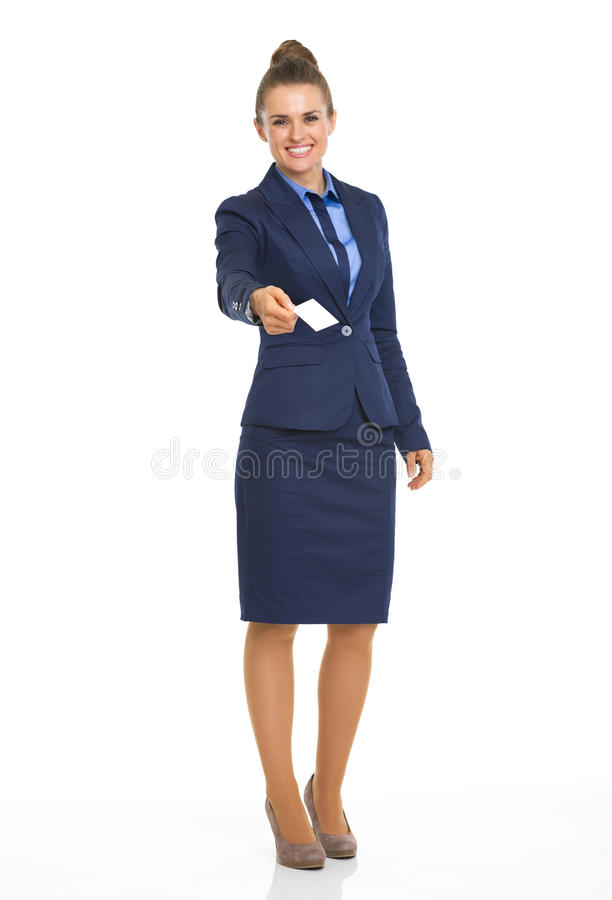 Business Woman Giving Business Card Stock Image - Image of length ...