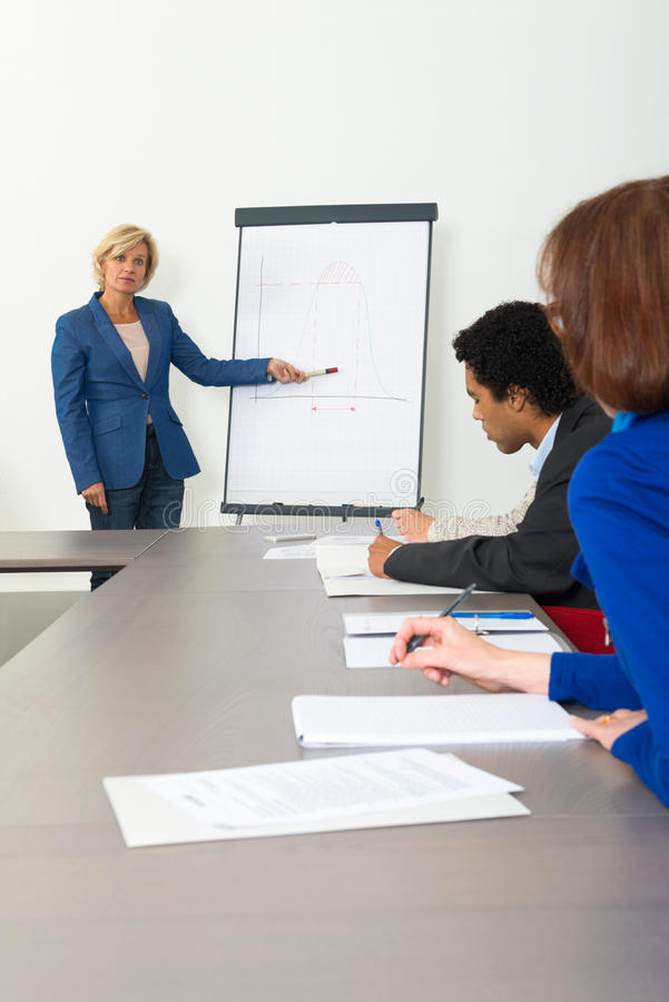 Business woman giving presentation royalty free stock images