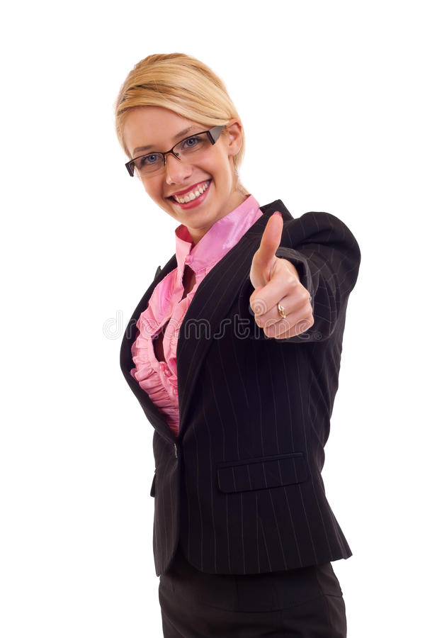 Business woman giving thumbs up sign royalty free stock photos