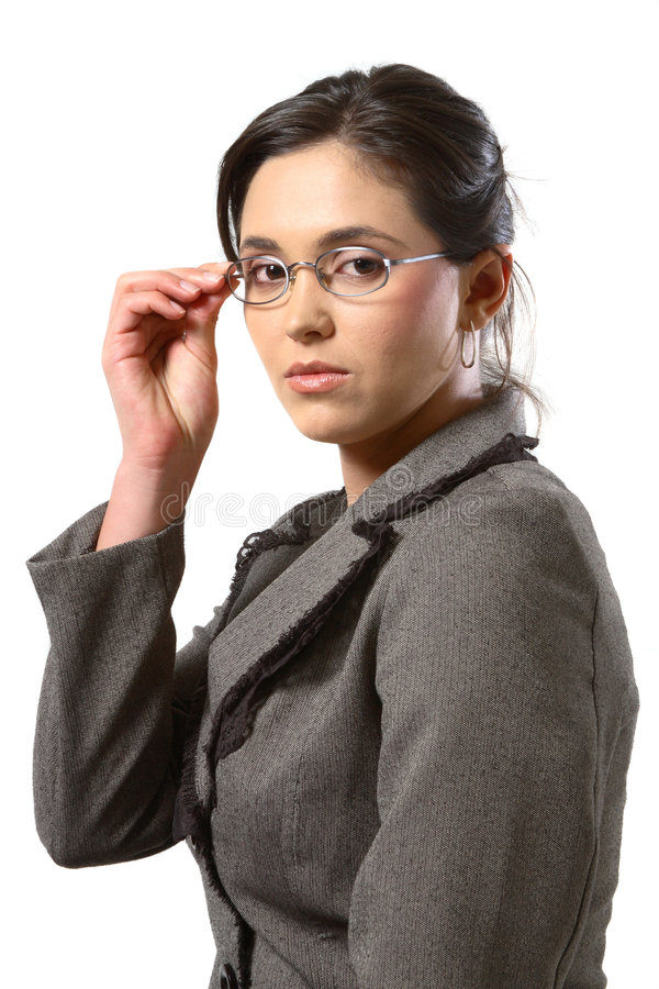 Business woman with glasses closeup. Business woman with glasses looking at the camera royalty free stock photos