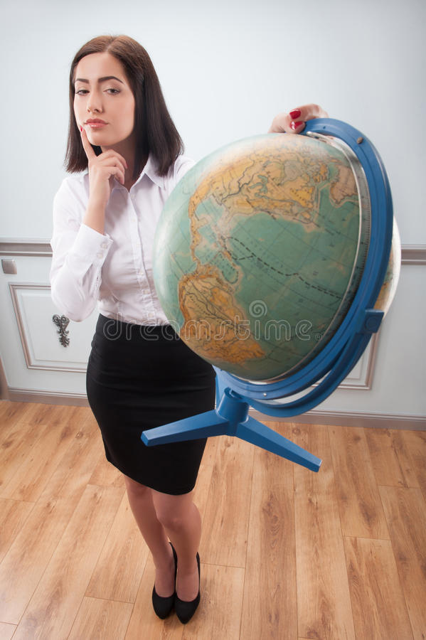 Business woman with the globe stock photos