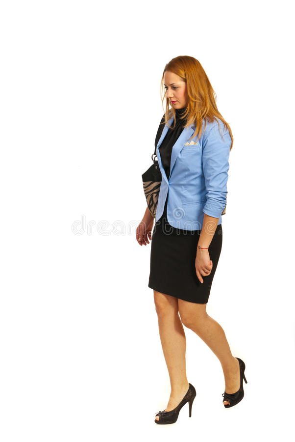 Business woman going to work. Isolated on white background stock photo