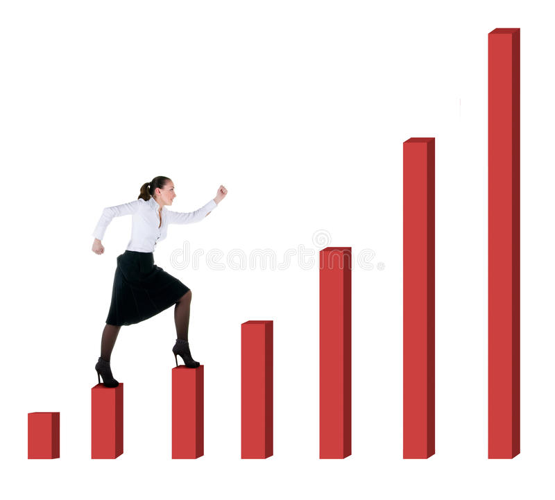 Download Business Woman And Graph Progress Stock Image - Image: 14008603
