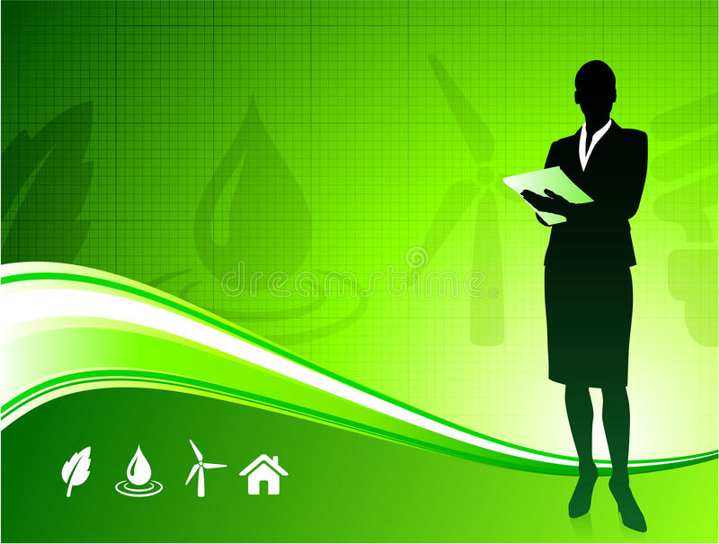 Business woman on green environment background vector illustration