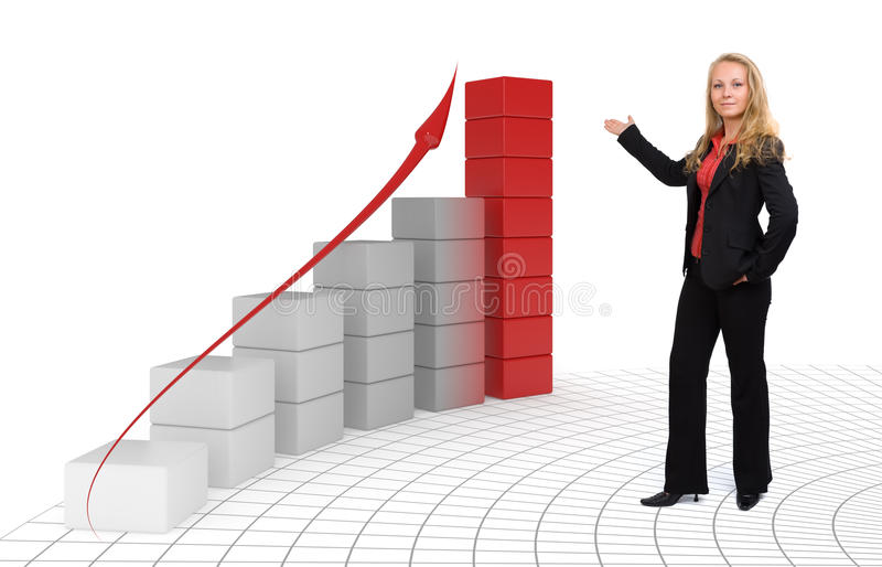 Business woman - Growth and success 3d Graph. Proud business woman presenting her success - Isolated stock photos