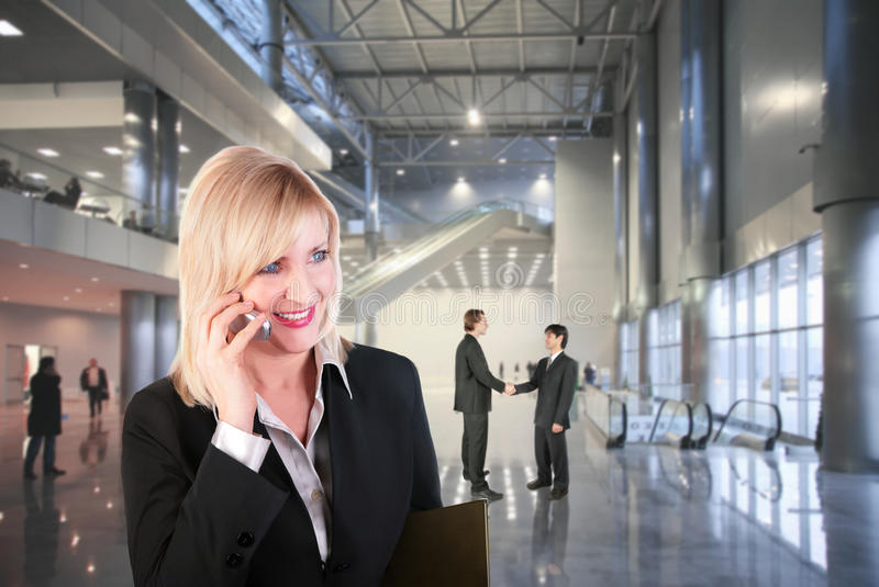 Business woman in hall collage stock photography