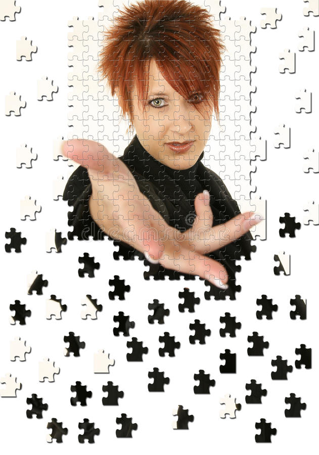 Business Woman Hand Puzzle stock photography