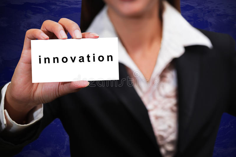 Business woman hand show innovation stock photos
