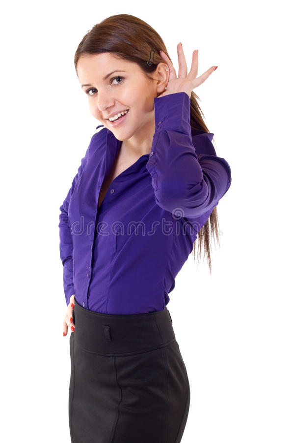 Business woman with hand to ear royalty free stock photos