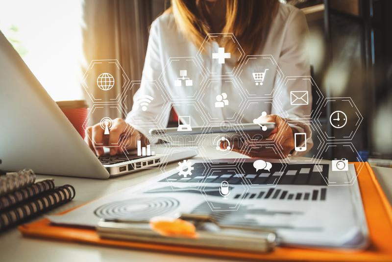 Digital marketing media in virtual screen. stock photos