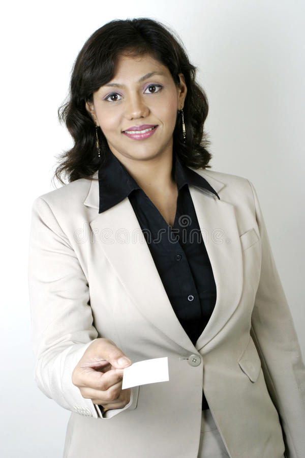Business Woman handing a blank business card stock photography