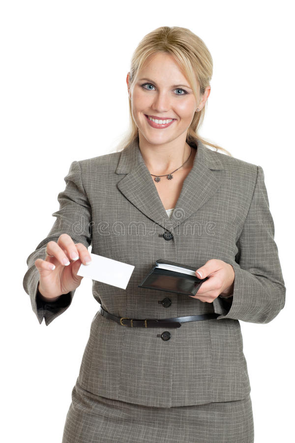 Business woman handing out card royalty free stock image