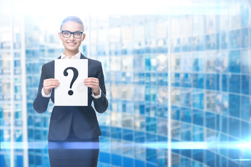 Business woman handing question mark stock photography