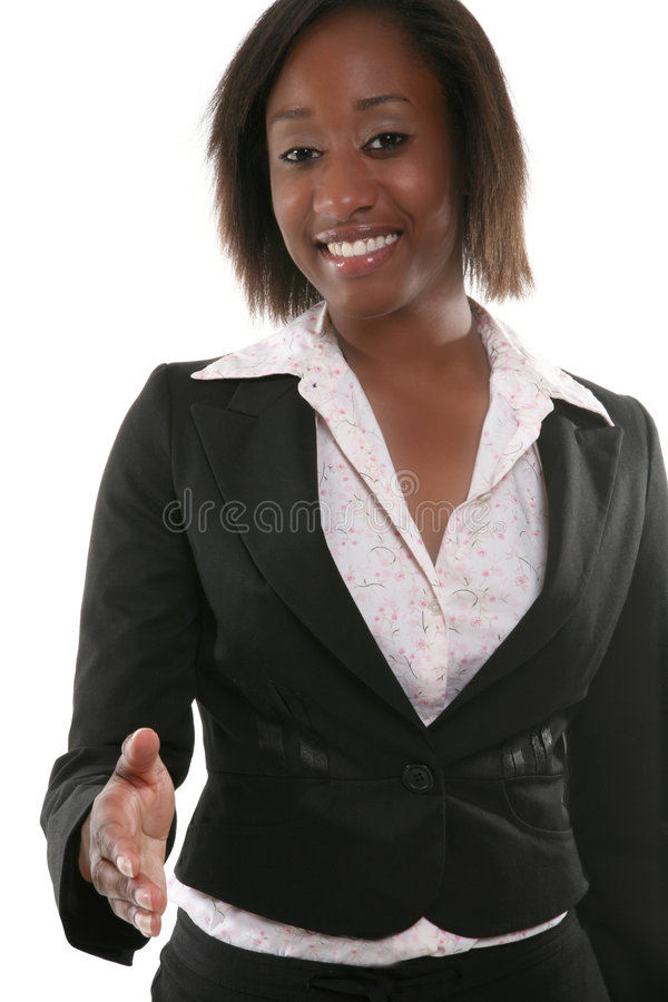 Business Woman Handshake. A pretty business woman offering a handshake royalty free stock images