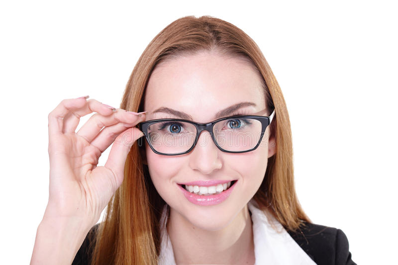 Business woman happy with eyeglasses. Business woman with eyeglasses isolated on white background royalty free stock photos