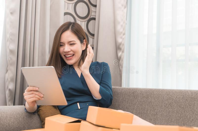 Business woman happy with her online order for her online business stock photos