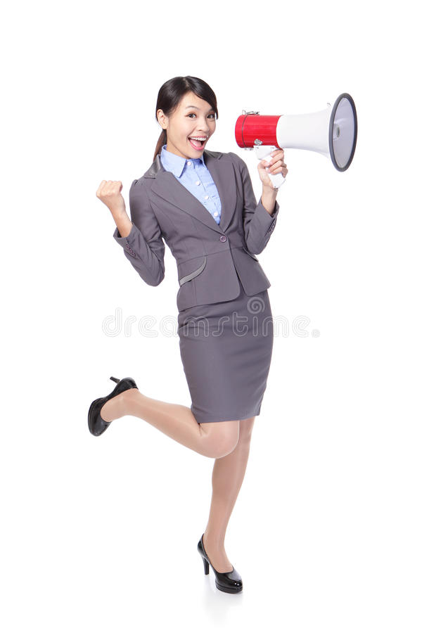 Business woman happy with a megaphone. And hand show win gesture in full length isolated on white background, model is a asian beauty stock images