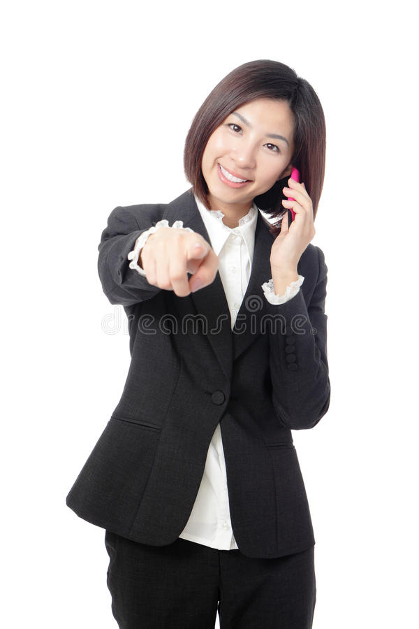 Business Woman Happy Speaking Mobile Phone Stock Images