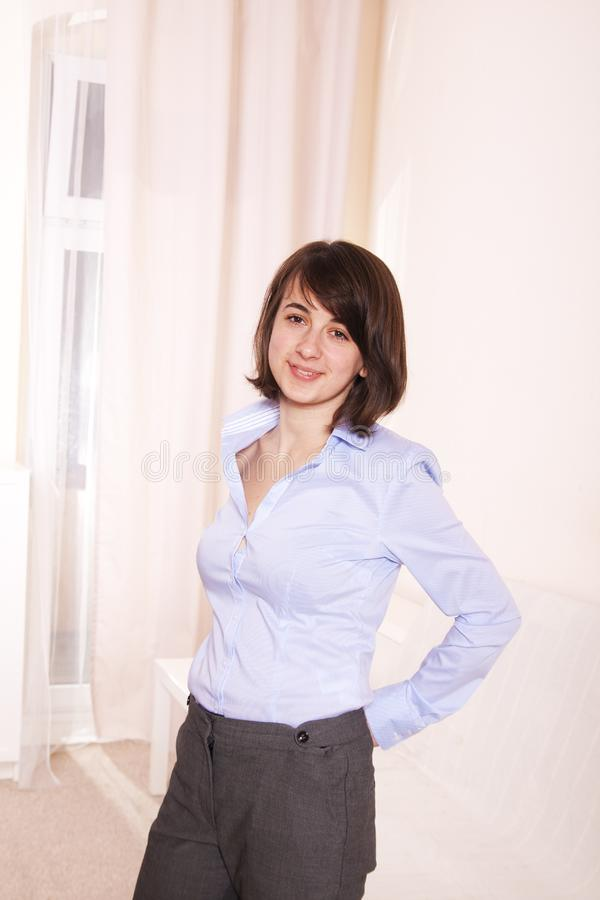 Business woman happy young smile stock image