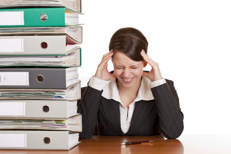 Business woman has migraine due to stress stock photo