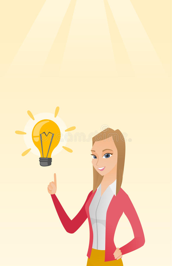 Business woman having business idea. Excited caucasian business woman pointing finger up at bright idea light bulb. Business woman having a great idea. Concept royalty free illustration