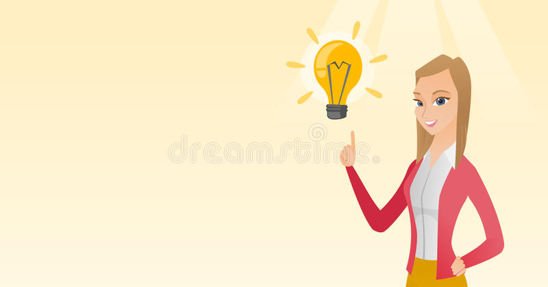 Business woman having business idea. Excited caucasian business woman pointing finger up at bright idea light bulb. Business woman having a great idea. Concept stock illustration
