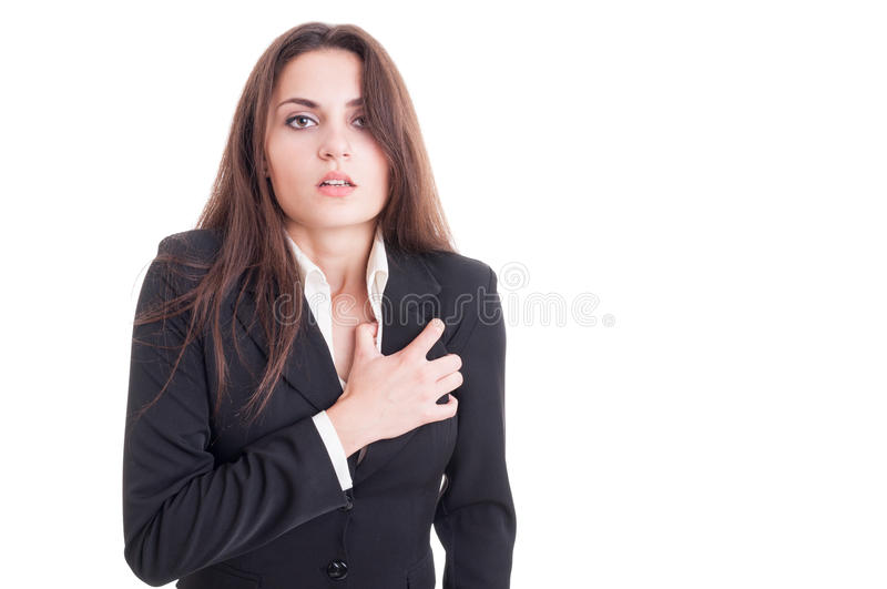 Business woman having a heart attack or cardiac arrest. Isolated on white background royalty free stock photo