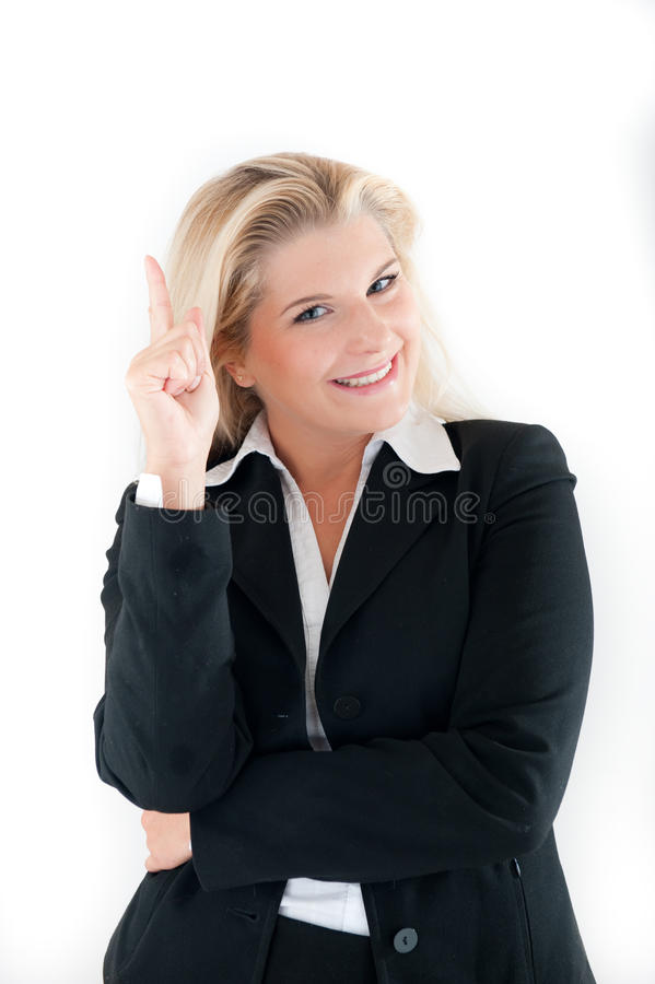Business woman having an idea. Business woman in a suit having an idea royalty free stock photography
