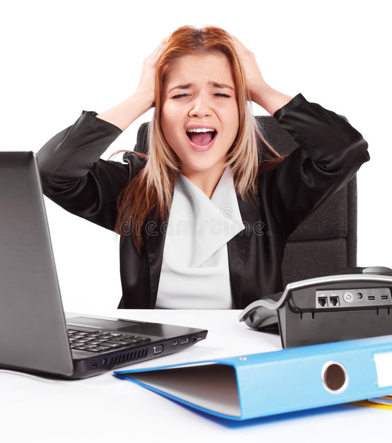 Business Woman Having Issues At Work Royalty Free Stock