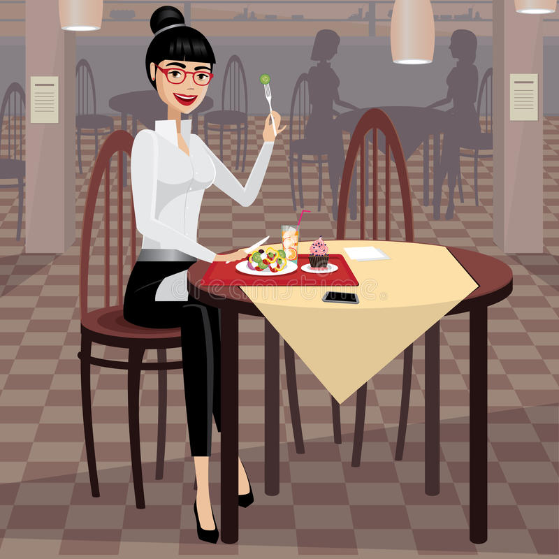 Business woman having lunch in the dining room. Happy business woman having lunch in cafeteria stock illustration