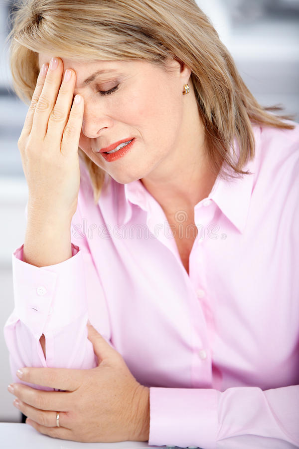 Business woman having stress. In the office royalty free stock images