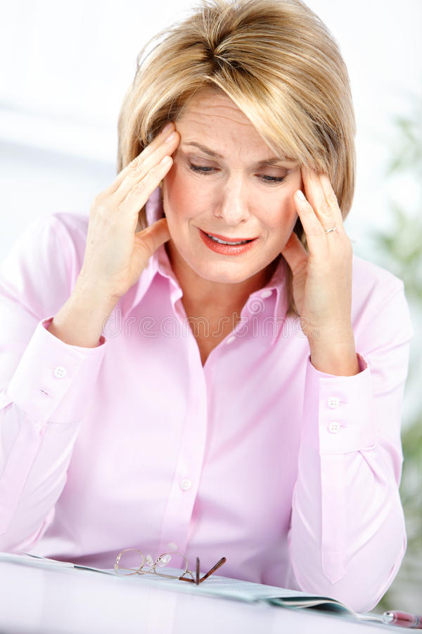Business woman having stress stock photos