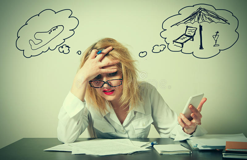 Business woman having troubles. Busy business woman having troubles stock images
