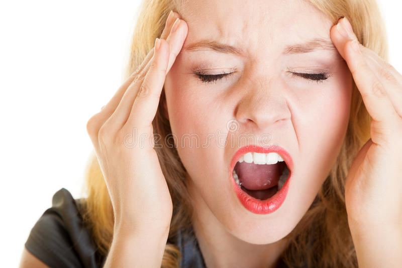 Business woman headache pain screaming shouting. Stress in work. Business woman with head pain screaming. Frustrated blonde girl with headache shouting. Stress royalty free stock photos