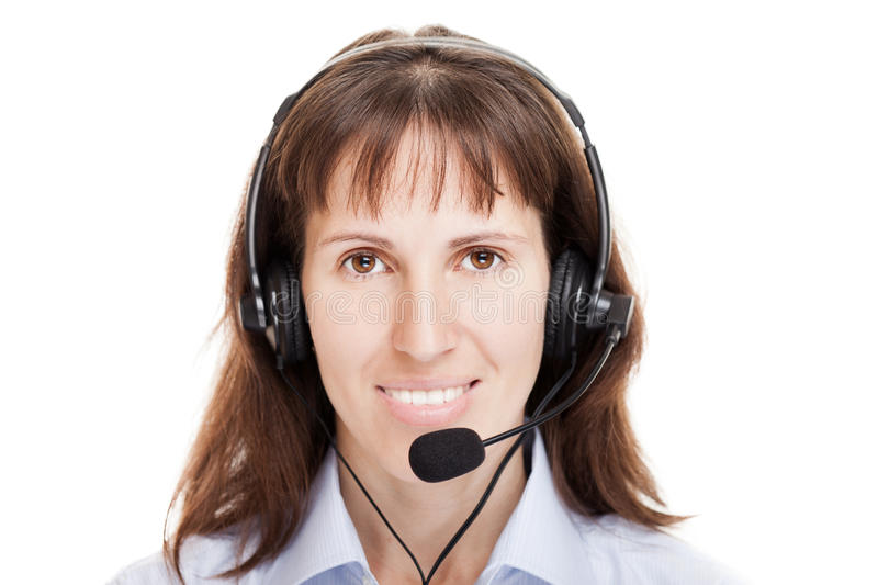Business woman with headphone royalty free stock photography