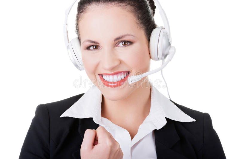 Business Woman With Headphones. Stock Photography