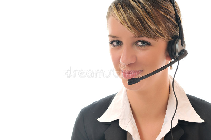Business woman with headset. Young beautiful business woman with headset phone help customer solution info service royalty free stock image