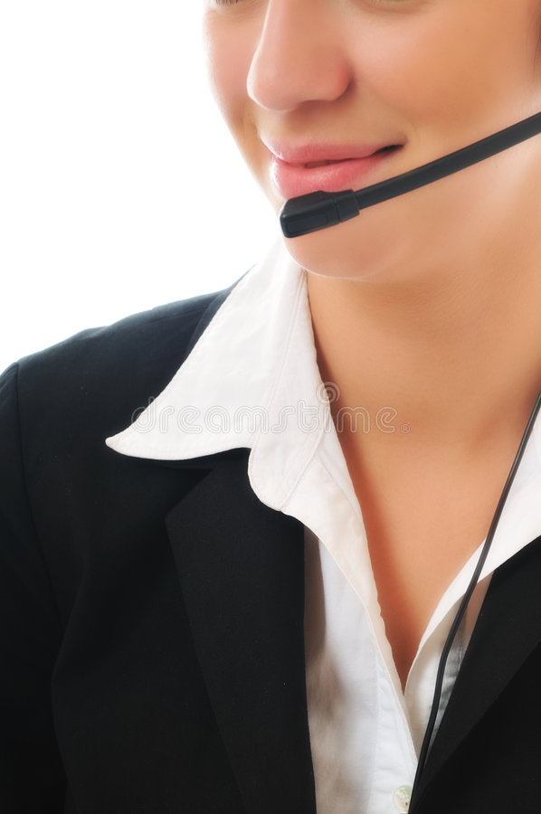 Business woman with headset. Young beautiful business woman with headset phone help customer solution info service royalty free stock photo