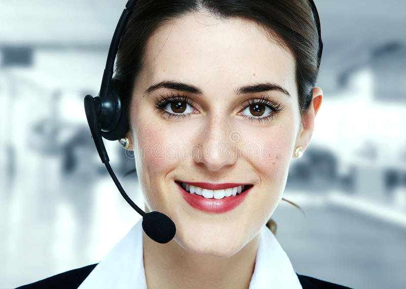 Business woman in headsets. Call center operator stock images