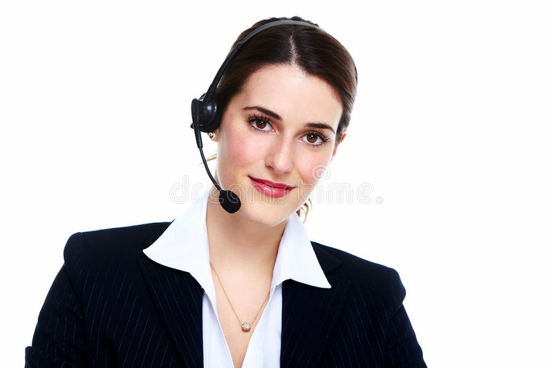Business woman in headsets. Isolated over white background stock images