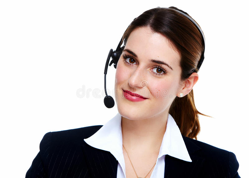 Business woman in headsets. Isolated over white background royalty free stock image