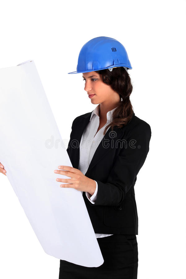 Download Business Woman With A Helmet Stock Image - Image of studio, business: 21649283