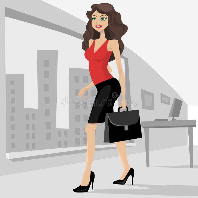 Business woman with her bag royalty free illustration